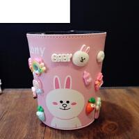 儿童杂物桶卡通可爱小号多功能收纳桶创意桌面垃圾桶家用无盖抗摔 粉红色 可妮兔