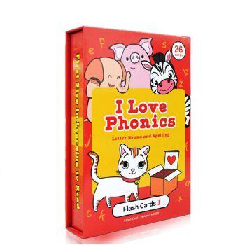 英文原版英语 I Love phonics L1 Alphabet flash cards 自然拼读 字词卡 启蒙游戏闪卡片 幼儿认知0-2-3-4-5岁亲子互动游戏flashcards