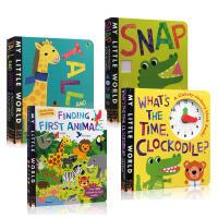 儿童英文原版 My Little World 我的小世界趣味洞洞书4本套装 0-3岁幼儿启蒙认知早教绘本 纸板书 Wh