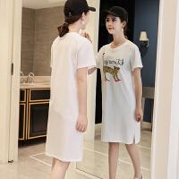 短袖T恤女韩版中长款百搭上衣女夏装2018新款宽松打底上衣体恤裙