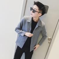 秋冬季毛呢外套男短款英伦呢子大衣韩版修身时尚青年妮子风衣潮流