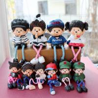 蒙奇奇树脂吊脚娃娃摆件创意卡通人物田园客厅隔板玄关装饰品摆设