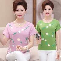 中老年女装夏装上衣服女中年人40-50岁妇女夏季妈妈装印花短袖T恤
