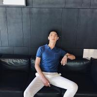 针织款口袋设计修身POLO衫 男装休闲绅士韩版T恤 翻领青年