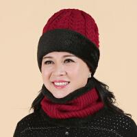老人帽子女冬天妈妈毛线帽秋冬中老年帽女士保暖老年人针织帽围脖
