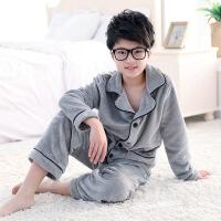 秋冬季男童法兰绒睡衣加厚保暖女童装珊瑚绒儿童中大童家居服套装