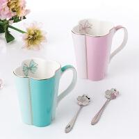 陶瓷水杯配勺简约咖啡杯欧式骨瓷马克杯纯色下午红茶杯子奶杯