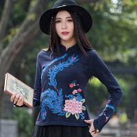民族风女装上衣 中国风春装新款 刺绣立领盘扣长袖修身纯棉t恤女