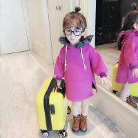 2018儿童韩版秋冬装女童加绒连帽衫4女宝宝加绒长款卫衣裙绒衫1-3