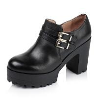 Tata/他她专柜同款小牛皮女单鞋2C121CM5