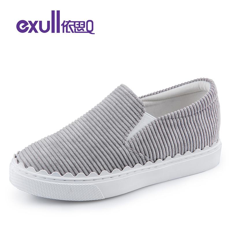 依思q春季新款条纹布休闲鞋套脚懒人鞋厚底单鞋女鞋