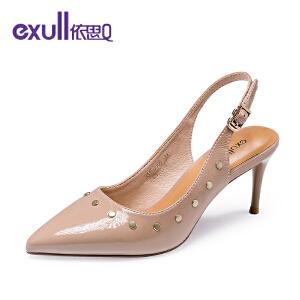 依思q时尚简约尖头单鞋柳钉搭扣高跟细跟女鞋