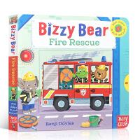英文原版进口绘本 Bizzy Bear: Fire Rescue! 纸板活动操作童书小熊很忙系列机关 翻翻抽拉 启蒙儿