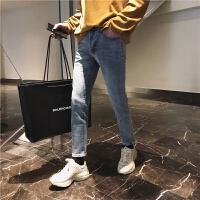韩版夏季牛仔裤男士修身小脚裤浅色牛仔长裤青年潮流弹力男裤春装