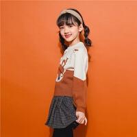 【满399减80】拉夏贝尔2018新款女童针织衫儿童卡通毛衣保暖韩版潮套头休闲