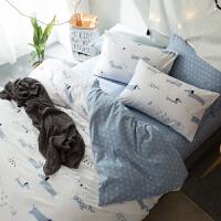 纯棉全棉四件套床上用品1.5/1.8m床双人被套床单床笠三件套被罩 乳白色 晚安宝贝△送抱枕 2.0m床:被套220*