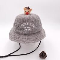 宝宝帽子秋冬儿童保暖渔夫帽加厚羊羔毛女童公主盆帽可爱男童帽子