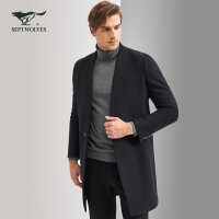 七匹狼大衣 冬季中青年男士时尚长款毛呢大衣外套 男装