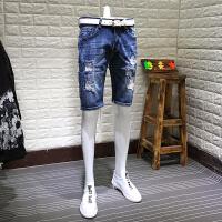 牛仔短裤男士夏季小破洞7青年流行五分裤石磨短裤夏天中裤潮流时尚 如图