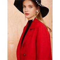 【满399减80】毛呢外套女士拉夏贝尔冬季新款宽松西装领羊毛双面呢呢子大衣