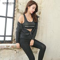 【到手价129】Kombucha瑜伽健身服三件套2018新款速干透气吸汗健身跑步外套文胸长裤三件套装KX8035T3