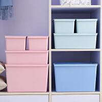收纳箱塑料有盖箱子整理箱衣服小号零食盒子储物箱衣物收纳盒拉耐