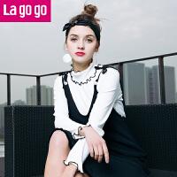 【3折价48】lagogo2017春装新款白色喇叭袖T恤打底衫女长袖薄针织衫百搭上衣