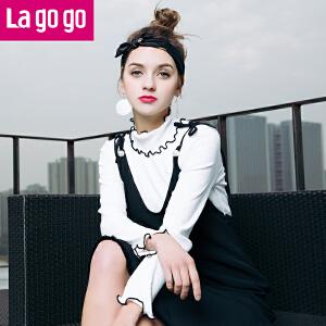 【秒杀价39】lagogo2019春装新款白色喇叭袖T恤打底衫女长袖薄针织衫百搭上衣