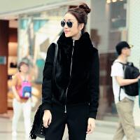 运动套装女士冬季加绒加厚卫衣连帽开衫毛绒外套运动服休闲女式修身两件套 大方黑