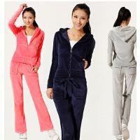 韩版瑜珈服卫衣加厚天鹅绒套装新款瑜伽服秋冬女运动休闲服