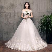一字肩婚纱礼服2018新款齐地新娘结婚韩版显瘦宫廷齐地公主 白色