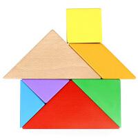 儿童木制七巧板拼图形状认知积木益智拼版宝宝玩具3-10岁
