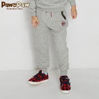 【3件4折 到手价:183元】Pawinpaw卡通小熊童装新款冬男童休闲卫裤抽绳松紧腰长裤