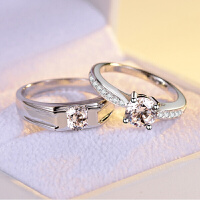 1克拉钻戒钻石戒指男女情侣对戒银饰品日韩人学生