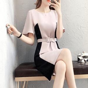 哆哆何伊春装女装2018夏季新款连衣裙修身显瘦时尚收腰撞色拼接减龄包臀裙