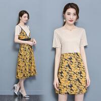 裙子套装两件套夏新款女装韩版时尚t恤吊带裙小碎花连衣裙潮