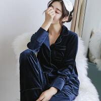 秋新款金丝绒睡衣女套装长袖长裤两件套丝绒天鹅绒情侣男家居服