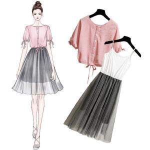 网纱连衣裙 夏季褶皱奶油裙温柔裙网红少女两件套装超仙高腰显瘦