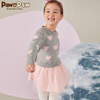 【秒杀价:180】Pawinpaw卡通小熊童装新款冬女童长袖连衣裙中小童假两件