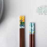文韬武略国潮筷子陶瓷红檀 景德镇竹者餐具创意礼品礼物家居文创