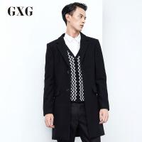 【5折价439.5,仅限10.12-15日】GXG男装 冬季男士时尚休闲黑色中长款修身羊毛呢大衣#64826507