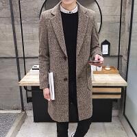 冬季风衣男韩版修身呢子大衣男士英伦中长款呢料外套学生加绒加厚