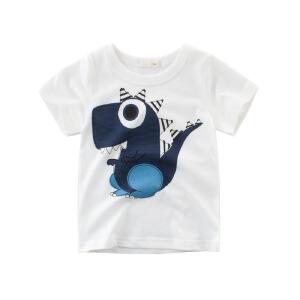 乌龟先森 儿童T恤 女童圆领棉质短袖透气薄款可爱条纹打底衫中大童夏季新款时尚百搭衬衫