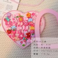 儿童网红小戒指套装创意食指装饰品项链小女孩时尚韩版首饰 戒指大号盒 36只装