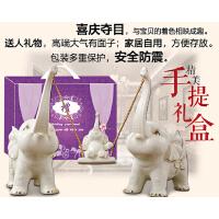 结婚礼物创意一家三口小象客厅电视柜酒柜工艺家居装饰品大象摆件 一家三口秋千象赠礼盒