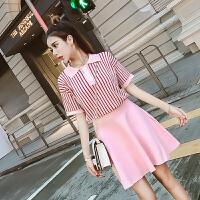 春夏新款时尚学院风条纹翻领短袖针织衫+高腰A字短裙套装