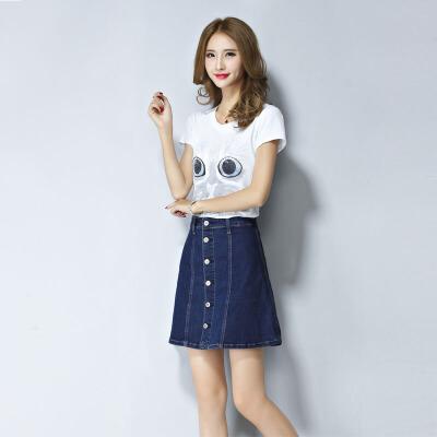高腰短裙2018春装新款韩版单排扣字包臀裙子牛仔半身裙女