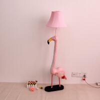 儿童房落地灯卡通动物灯可爱女孩卧室创意床头灯护眼立式台灯公主 【皮】浅粉红 火烈鸟高125cm