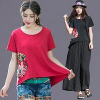 中国风女装 夏季新款民族风上衣 绣花短袖宽松版圆领T恤女衫