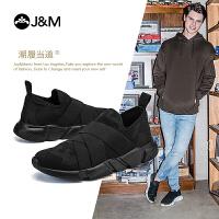 jm快乐玛丽2018秋季新款松紧带厚底松糕套脚男鞋运动休闲鞋78119M